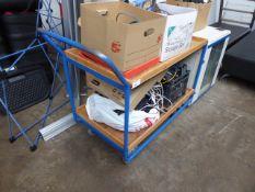 Blue metal frame 2 tier trolley