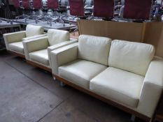 Suite of reception furniture comprising of a 160 cm 2 seater settee and 2 x 95 cm swivel armchairs