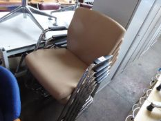 5 chrome frame and brown cloth padded stacking chairs