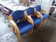 9 bent wood and blue cloth stacking chairs