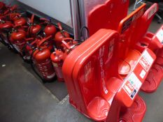 Approx. 29 red fire extinguishers comprising of CO2, Water and Foam plus a range of fire