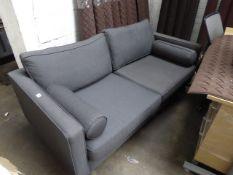 Grey cloth 2 seater sofa, w. 170 cm, on chrome legs