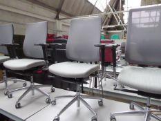 Boss Design grey cloth seated grey mesh back chrome frame swivel armchair