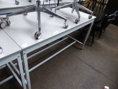 150 cm QMP high level metal frame grey top work station, shallow in depth