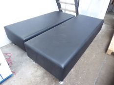 2 black leather effect bench seats with chrome legs
