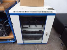 Small server cabinet with contents to inc. Netgear giga switch, 2 Avaya IP400 digital stations and a