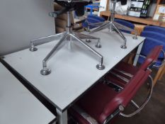 150 cm high level grey metal leg and white work top work station without electronic socket up stand