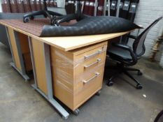 (83) 2 x 160cm light oak cantilever workstations, each with a 4 drawer mobile pedestal