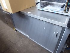 150cm stainless steel preparation table with 2 sliding doors under