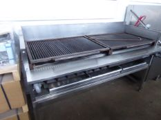 (50) 185cm Magikitch-n inc American style gas char grill with multi burners on custom built table