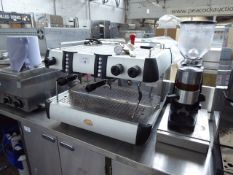 (TN4) Conti Essika SSKTC automatic 2 station coffee machine with group heads and associated grinder