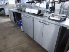 350cm stainless steel preparation counter with hand basin and tap set, space for under counter