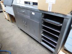 150cm stainless steel counter with drawer, 2 cupboards and space for trays under