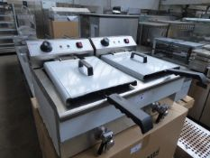 70cm electric Infernus INEF-162V bench top twin well fryer with 2 baskets
