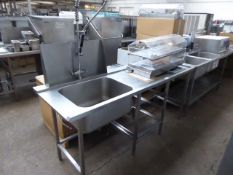 200cm single bowl sink unit with pre wash tap set, waste disposal space, space under for