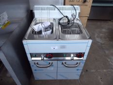(TN14) 66cm electric RM Gastro VT-60EL twin tank pasta cooker with 8 baskets on 2 door bench