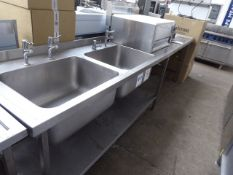 315cm stainless steel double bowl sink unit with tap sets, draining board and a hand basin with