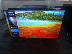 R61, 65'' Hisense 4K TV, model 65A7100FTUK, to include box no. B7