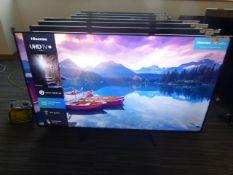 R63, 65'' Hisense 4K TV, model 65A7100FTUK, to include box no. B10