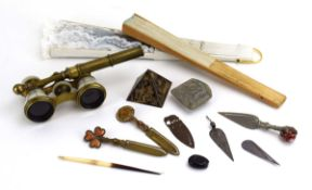 A small group of collectables including a pair of brass and mother-of-pearl opera glasses,