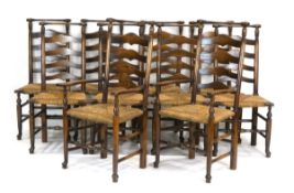 A set of ten 18th century style oak and ash dining chairs with seagrass seats,