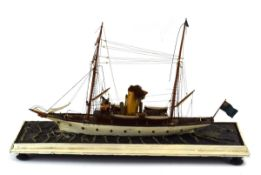 A Victorian model of a steamship, c. 1880, constructed by Master Carpenter Arthur Newbery, w.