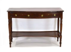 A late 18th century style mahogany and crossbanded bow-fronted buffet/serving table,