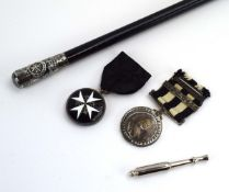 St John's Ambulance Brigade: a silver-mounted swagger stick, a Victorian medal,