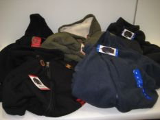 5 fleecy jackets and hoodies by Buffalo, 32 Degree Heat and North Face in black, green, grey and