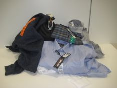 Bag containing gents shirts, polo shirts, sweatshirt tops, etc in various sizes, colours and designs