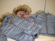 3 Andrew Marc ladies ladies quilted parka style jackets, 2 in light blue and 1 in pink, sizes S, M