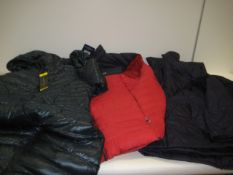 Bag containing 4 quilted jackets, 1 by Andrew Marc, Bergenhaus blue and red gilet plus 2 Gerry