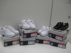 6 boxed pairs of Fila ladies trainers, styles are Dissaray and 1 pair of Redmond in sizes ranging