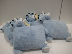 Bag containing 4 kiddies Snuggle Me Too blue dinosaur cushions