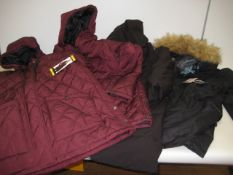 4 ladies parka style coats, 2 by Weatherproof, 1 by DKNY and 1 by Gerry, sizes ranging from S - L (1