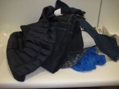 Bag containing gents clothing incl. jeans, shorts, gilets, shirts, jumpers, etc.