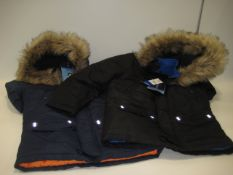 2 boys parka style jackets by Andrew, Andy & Evan in blue and black with faux fur trimming to the