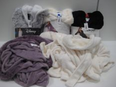 Bag containing ladies dressing gowns/ robes by DKNY, Disney Mickey, etc.