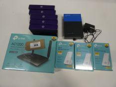 TP-Link AC1200 router, 3x TP-Link WiFi Range Extenders, 5x BT 4G Assures and Linksys LRT224 VPN
