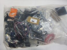 Bag containing quantity of leads, cables, chargers and PSUs