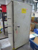 Small metal single door grey cabinet