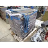 Pallet containing 2 large grey parts racks, with multi drawers filled with: nuts, bolts, washers,