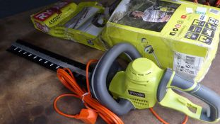 Ryobi boxed electric hedge cutter and hand saw