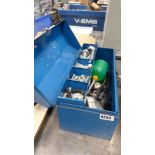 Blue toolbox with assorted nuts, bolts etc