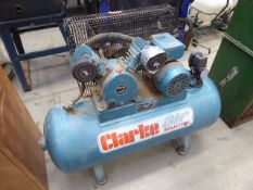 A Clarke Air model SEV110100 receiver mounted air compressor