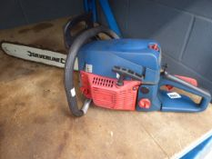 Silverline red and blue petrol powered chainsaw