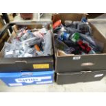 Four boxes containing various items including drive belts, bearings, inner tubes, bulbs, filters and