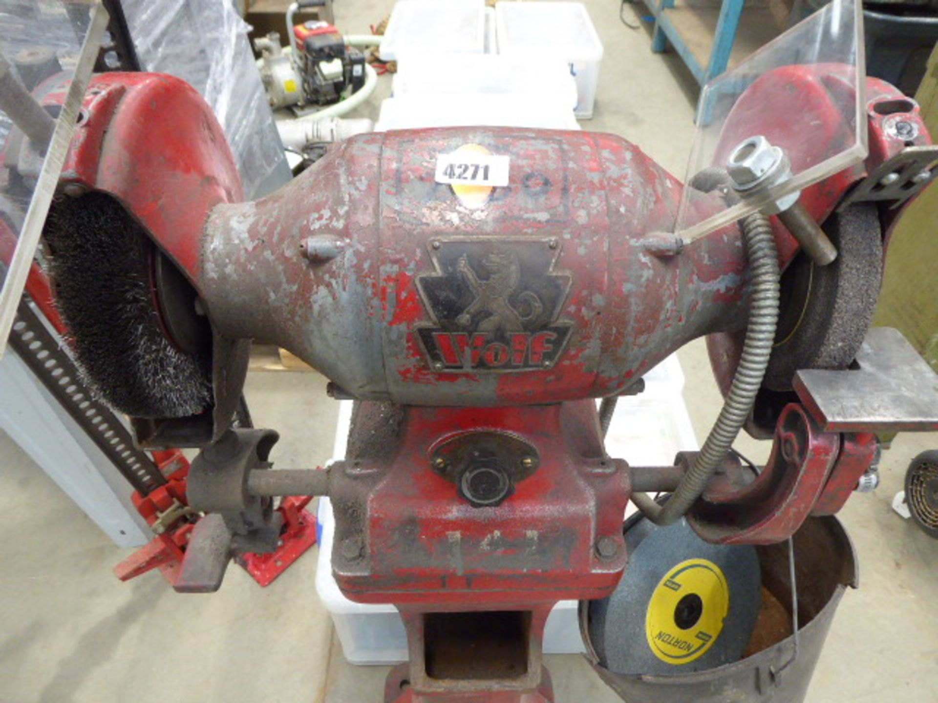 A Wolf bench grinder and wire brush on pedestal - Image 2 of 2