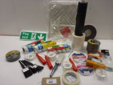 Paintbrushes, rollers, roller trays, Fire Exit signs, cutting wheels, tape and DIY products