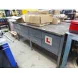 Large metal framed, metal topped work bench with drawers and cupboards under